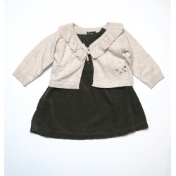 Ensemble Cardigan Sergent Major / Robe velours Boutchou bébé fille 6 mois